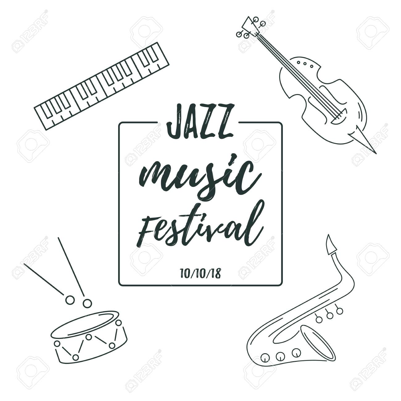 Template For Music Festival Jazz Party Invitation Greeting Card