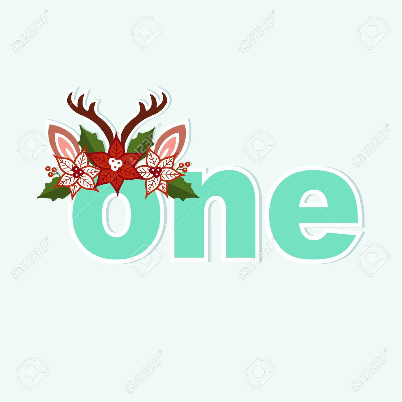 Vector Illustration One Deer With Antlers And Christmas Wreath