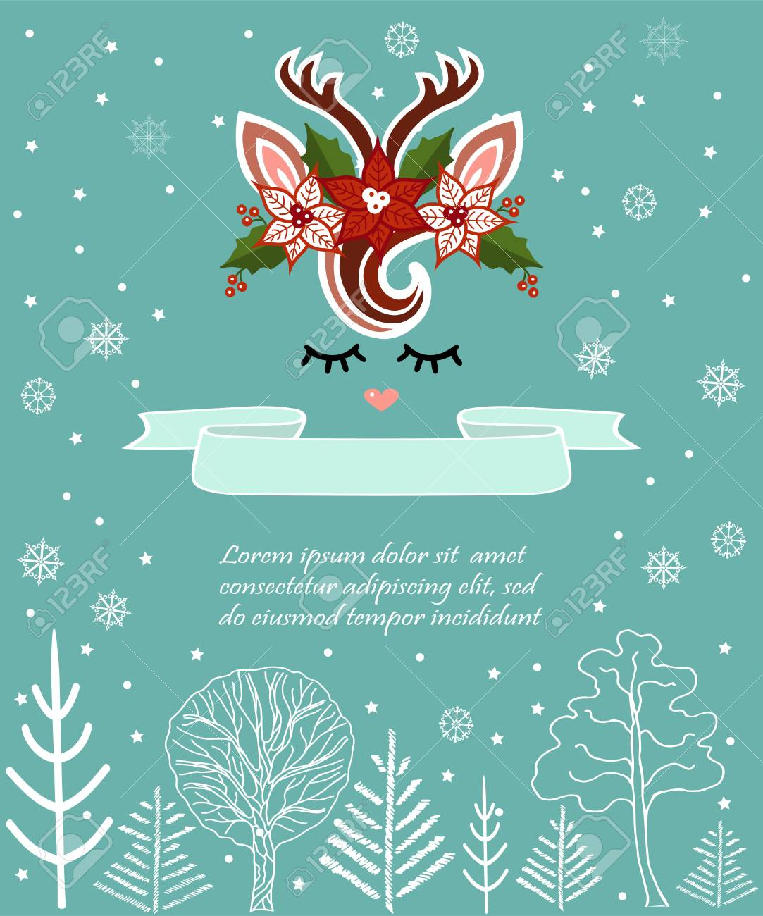 Vector Illustration With Cute Deer Template For Merry Christmas