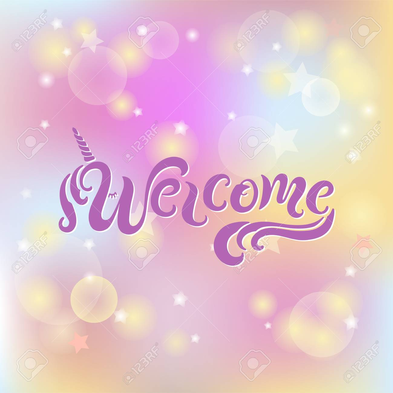 Handwriting Lettering Welcome With Unicon Horn Baby