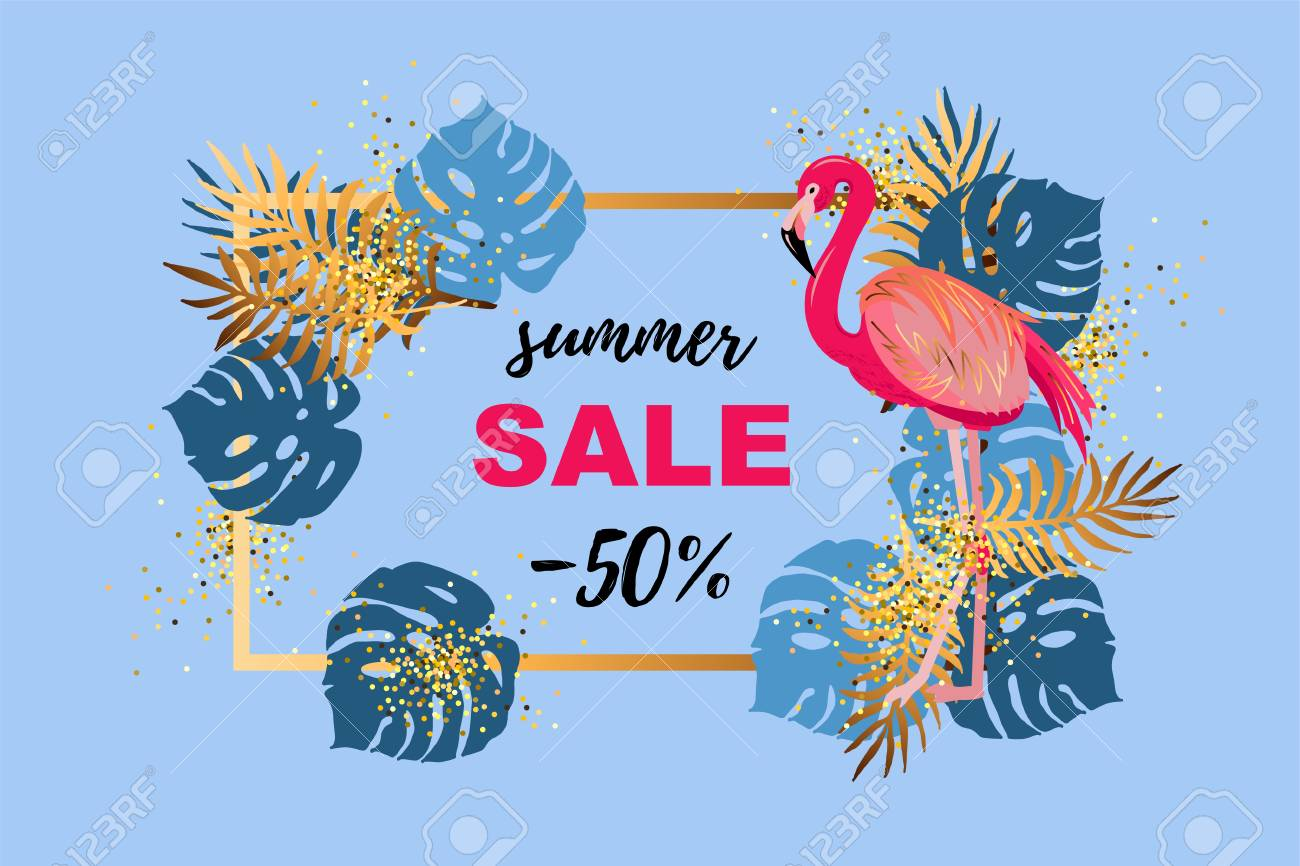 Pink flamingo and tropical leaves. Sammer sale. Place for your text. Vector illustration for banner, poster, web, invitation, flyer. - 125075383