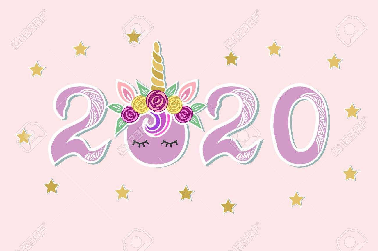 Unicorn Christmas 2020 Vector Illustration With 2020, Unicorn Tiara And Eyes As Happy