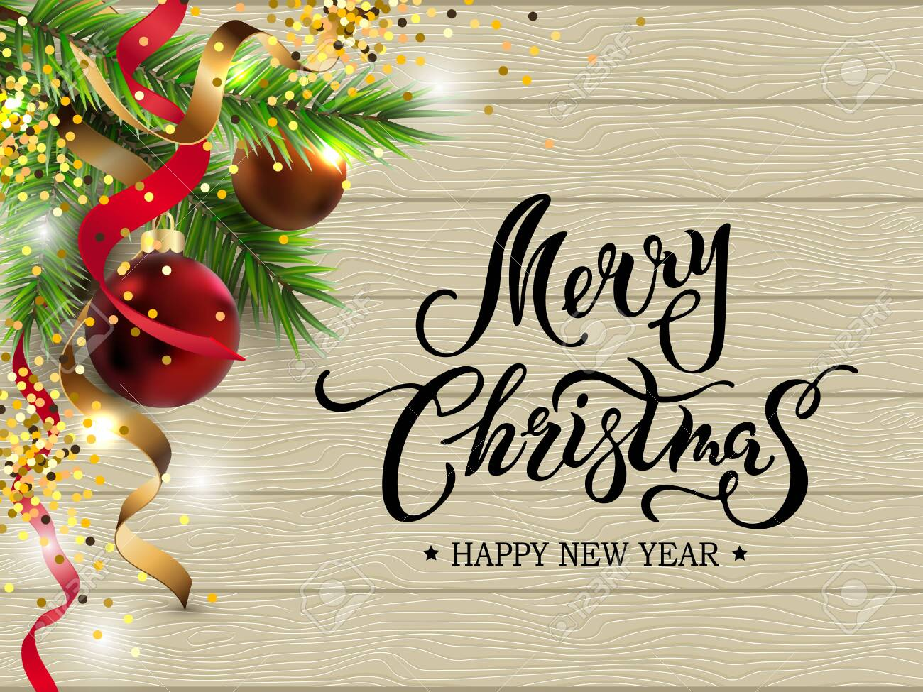 merry christmas happy new year card with fir tree red and golden royalty free cliparts vectors and stock illustration image 130330161 merry christmas happy new year card with fir tree red and golden