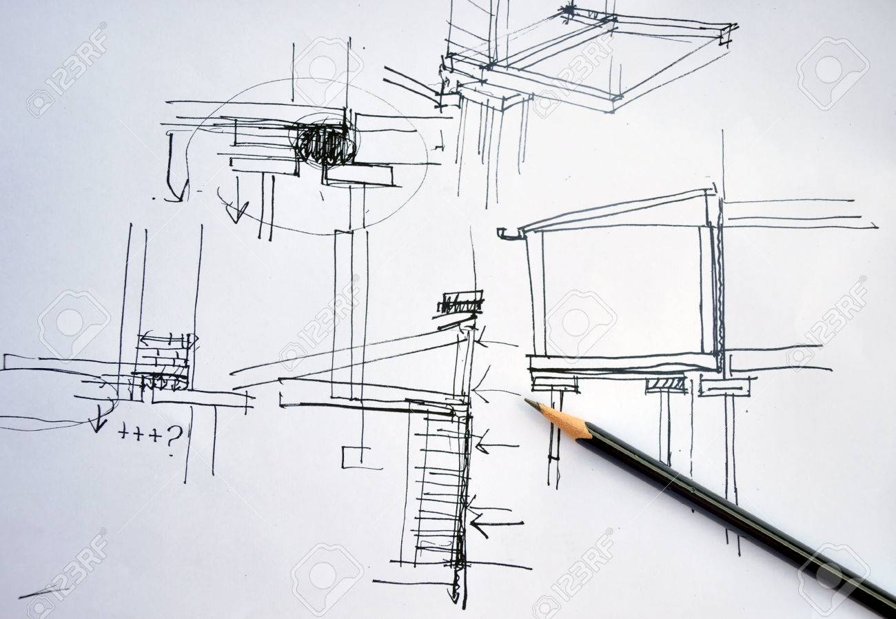 Architecture Drawing Pencil draft hand drawing foundation architecture plan with black pencil