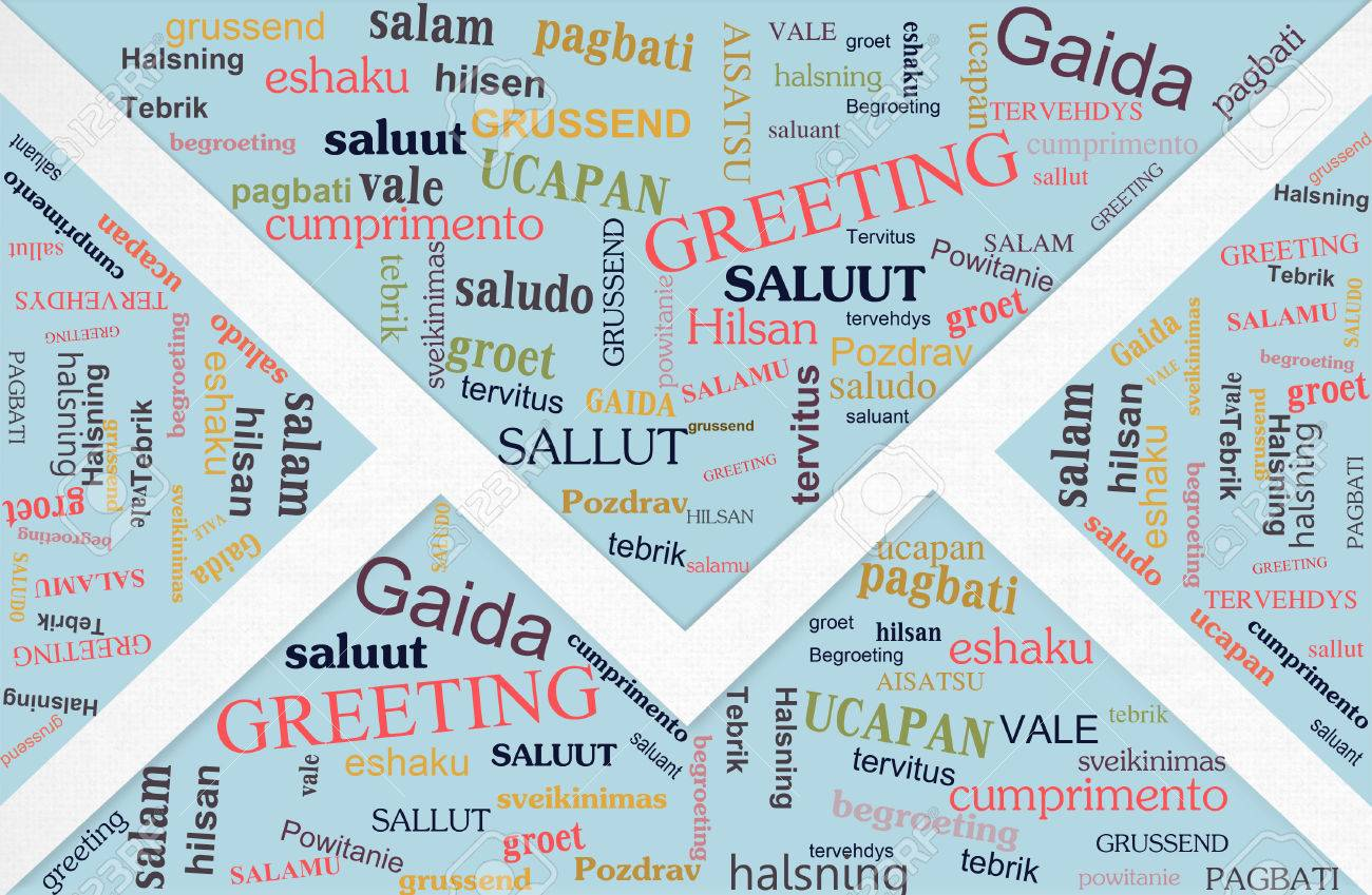 Words Cloud Of Greeting Phase In Different Languages On Cards