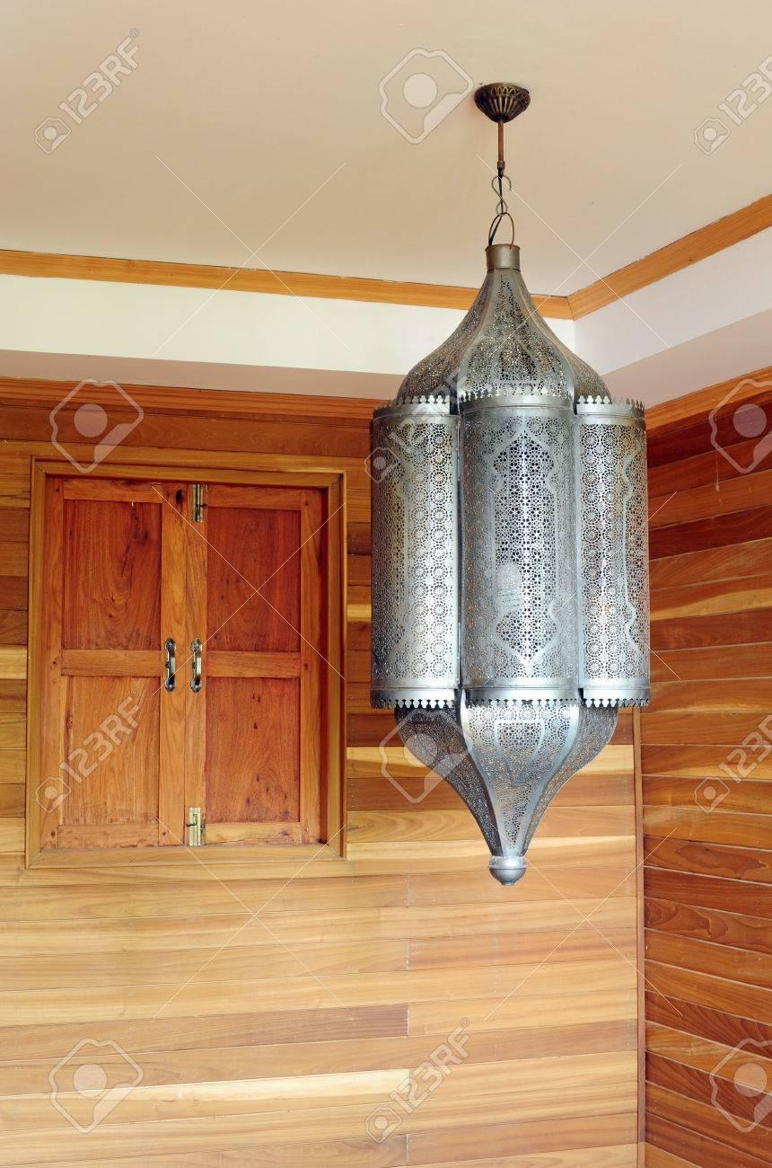 hanging metal moroccan lanterns lamps stock photo