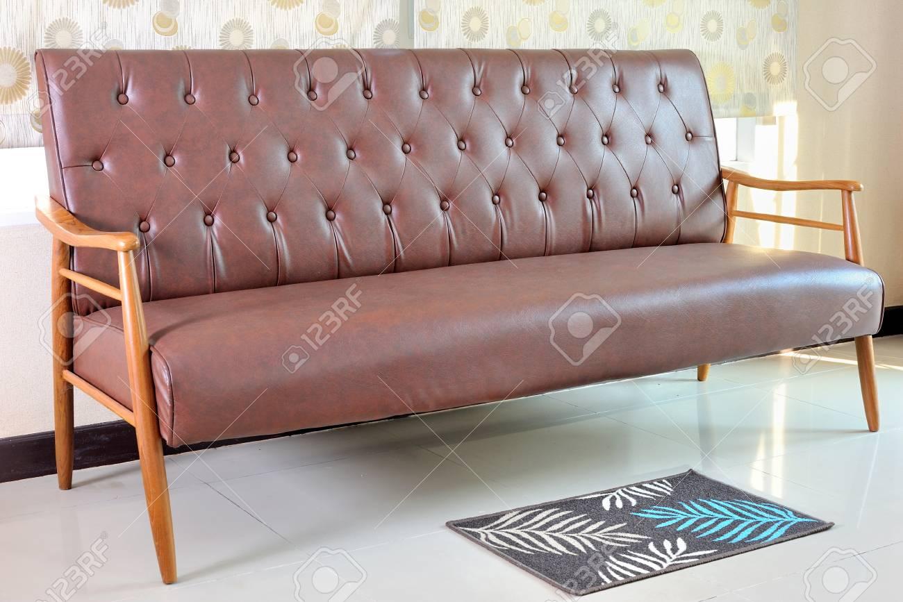 retro leather sofa in room