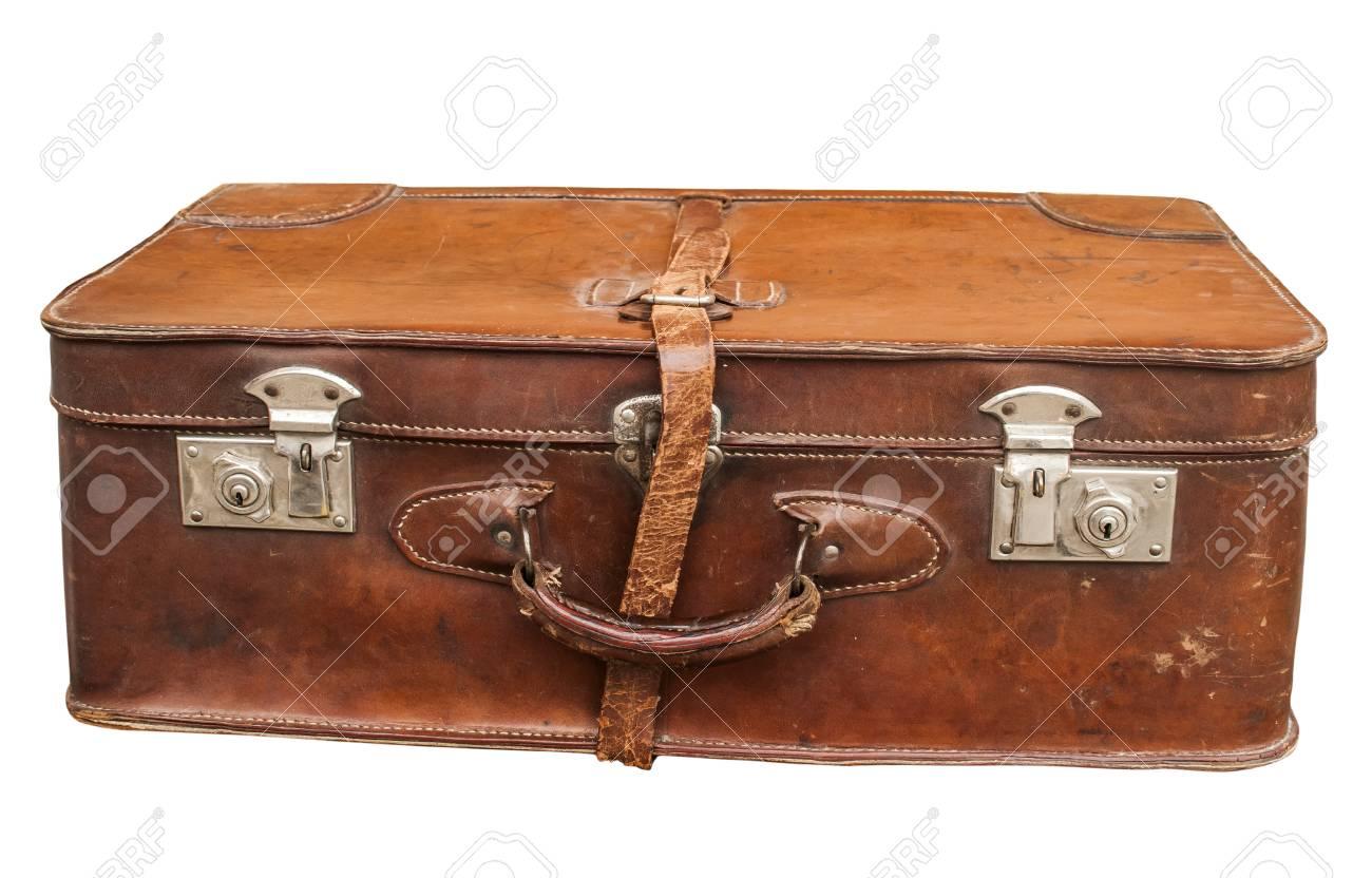 Old Closet Locked Retro Vintage Leather Suitcase Detail Closeup Isolated On  White Backgound Stock Photo