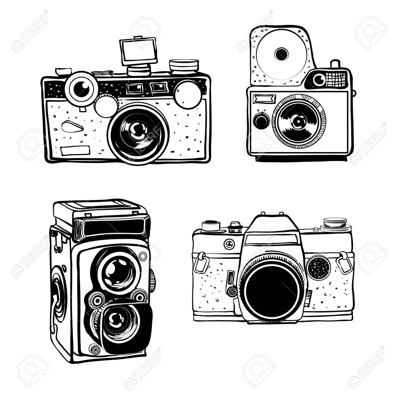 レトロな写真カメラ セット ベクトル落書き白黒イラストのイラスト素材