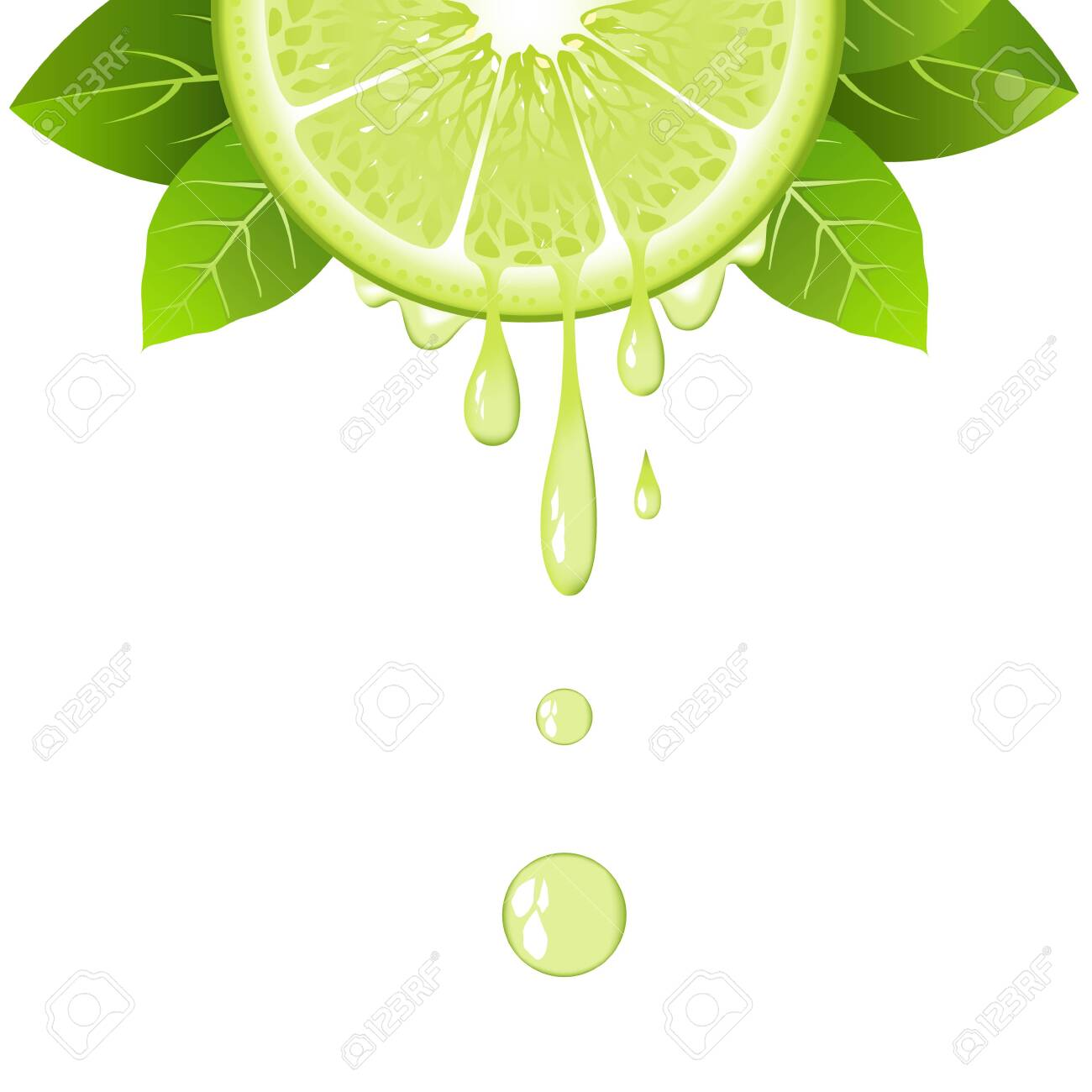 Realistic half lime slice with leaves and drops of juice. Juicy fruit. Fresh citrus design on white background vector illustration - 127968621