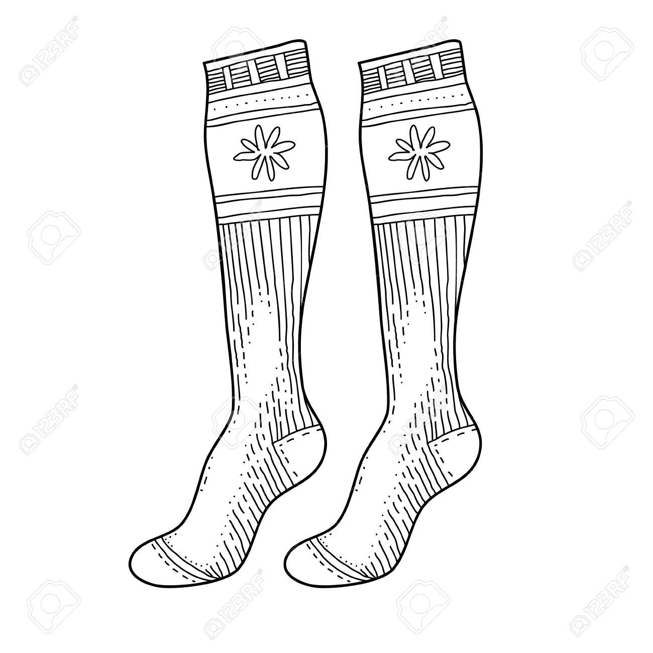 Drawings Of Christmas Stockings.Black Engraved Socks Drawing Winter Warm Christmas Stockings