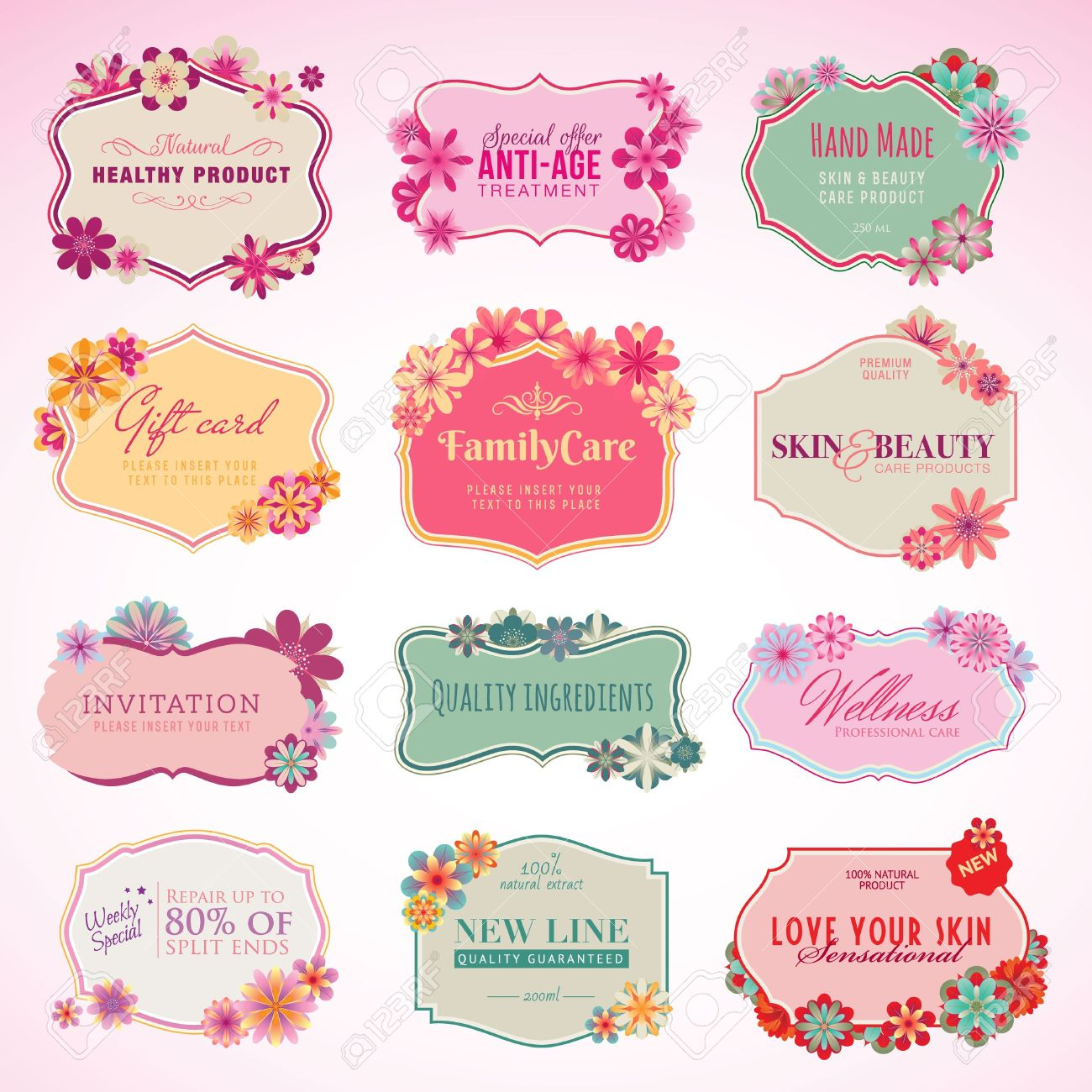 Set of cosmetics labels and stickers - 14004237