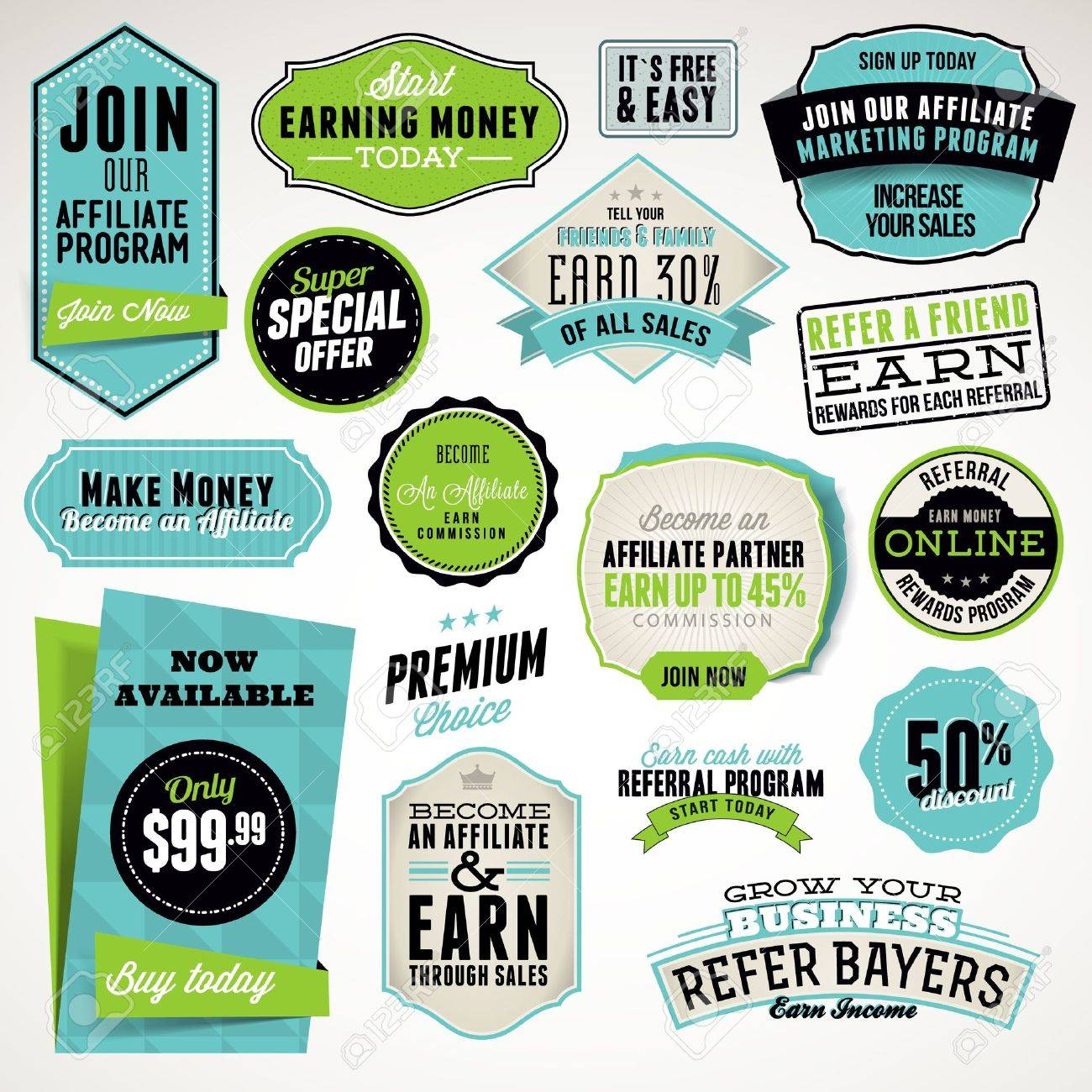 Set of affiliate and referral badges and stickers Stock Vector - 14254071