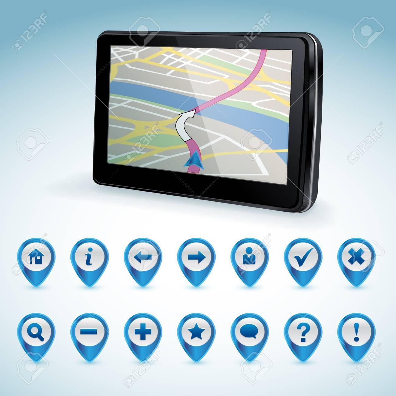 GPS navigator and set of GPS icons Stock Vector - 14396461