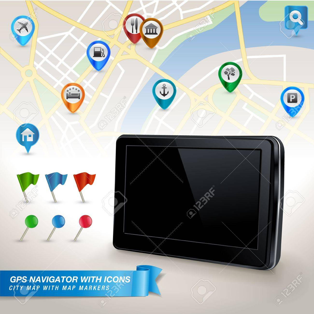 GPS navigator with city map and set of GPS icons Stock Vector - 14396462
