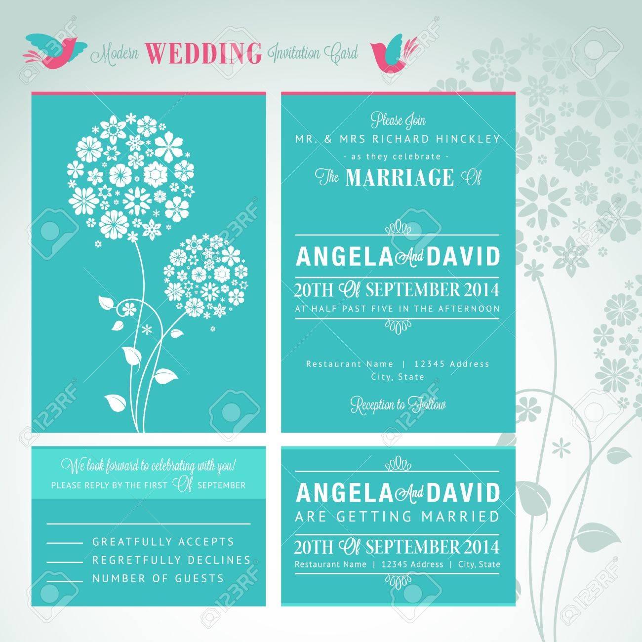 Modern Wedding Invitation Card Royalty Free Cliparts, Vectors, And ...