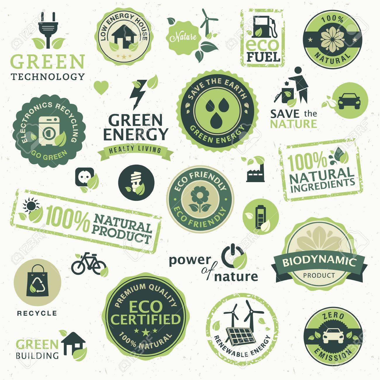 Set of labels and elements for green technology Stock Vector - 14922823