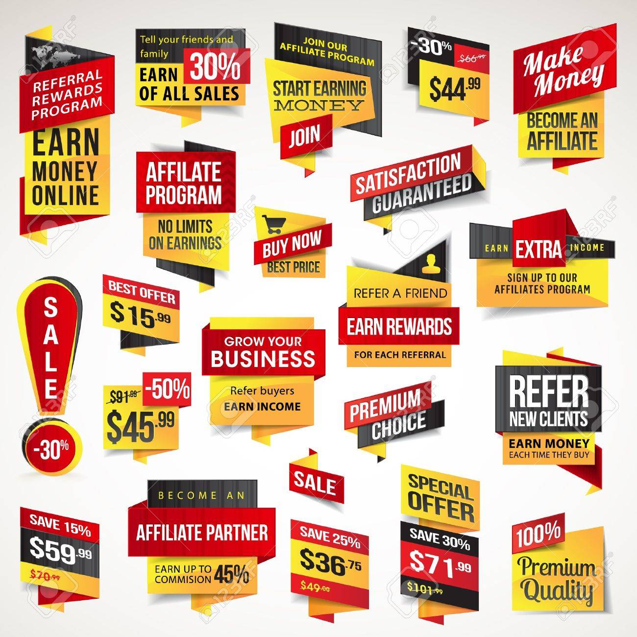 set of stickers and banners royalty free cliparts vectors and