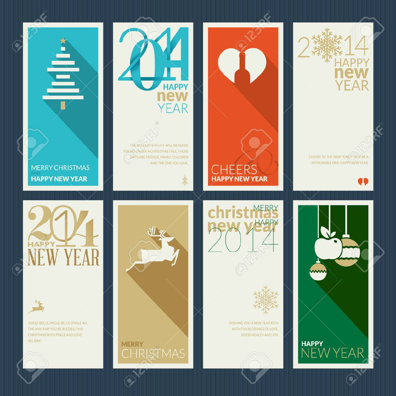 Set of christmas and new year greeting cards design the front set of christmas and new year greeting cards design the front and back of the greetings kristyandbryce Image collections