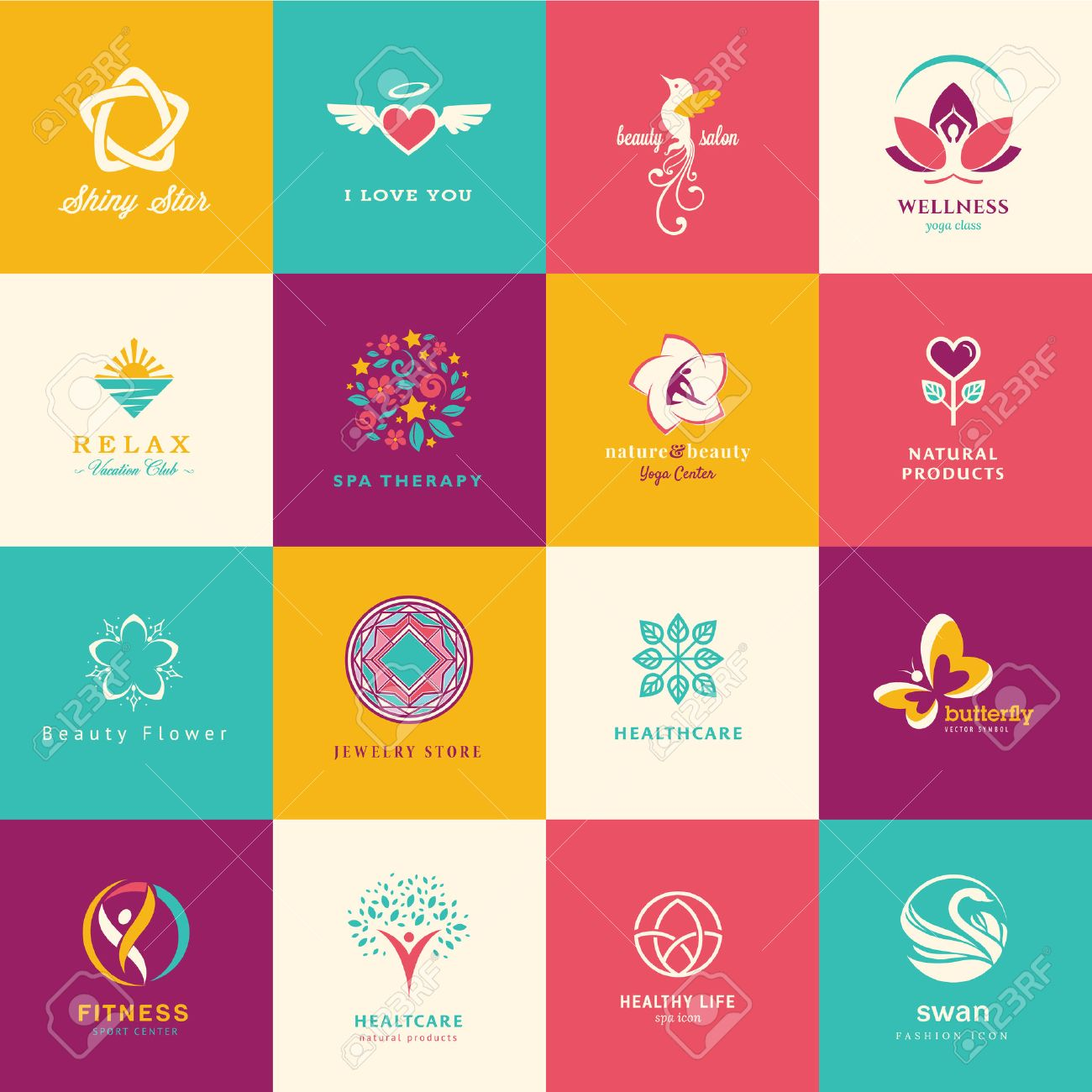 Set of flat icons for beauty, healthcare, wellness and fashion - 24062205