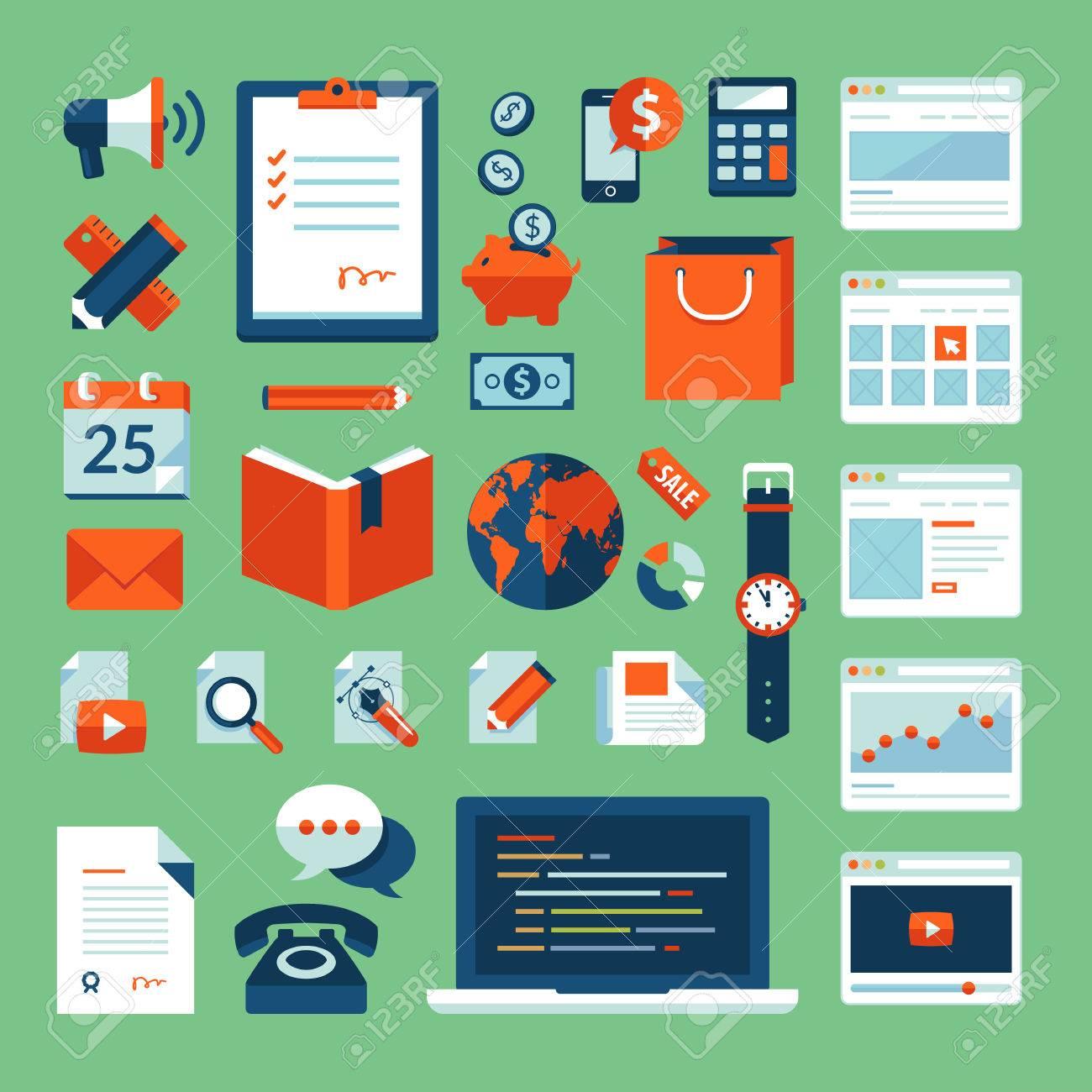 Flat design vector illustration concept icons set of business working elements for web design, e-commerce, mobile app, digital marketing, programming, seo, office, communication, finance Stock Vector - 24900096