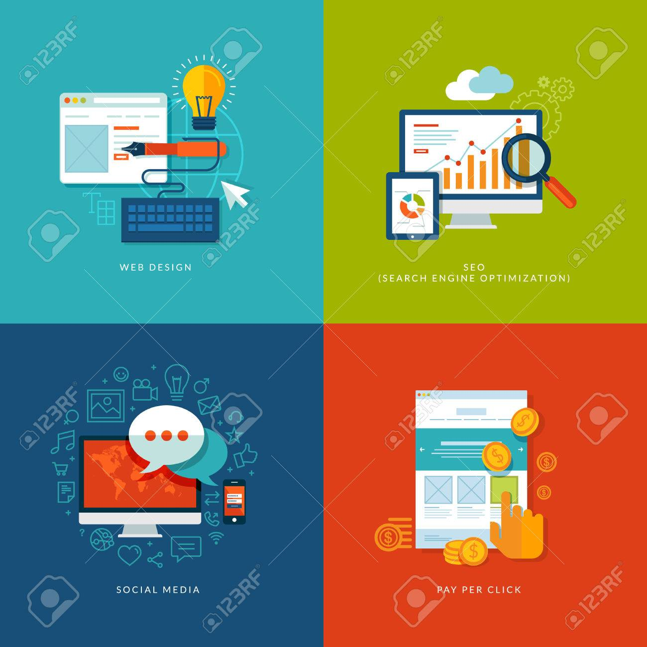 Set of flat design concept icons for web and mobile services and apps  Icons for web design, seo, social media and pay per click internet advertising Stock Vector - 24900102