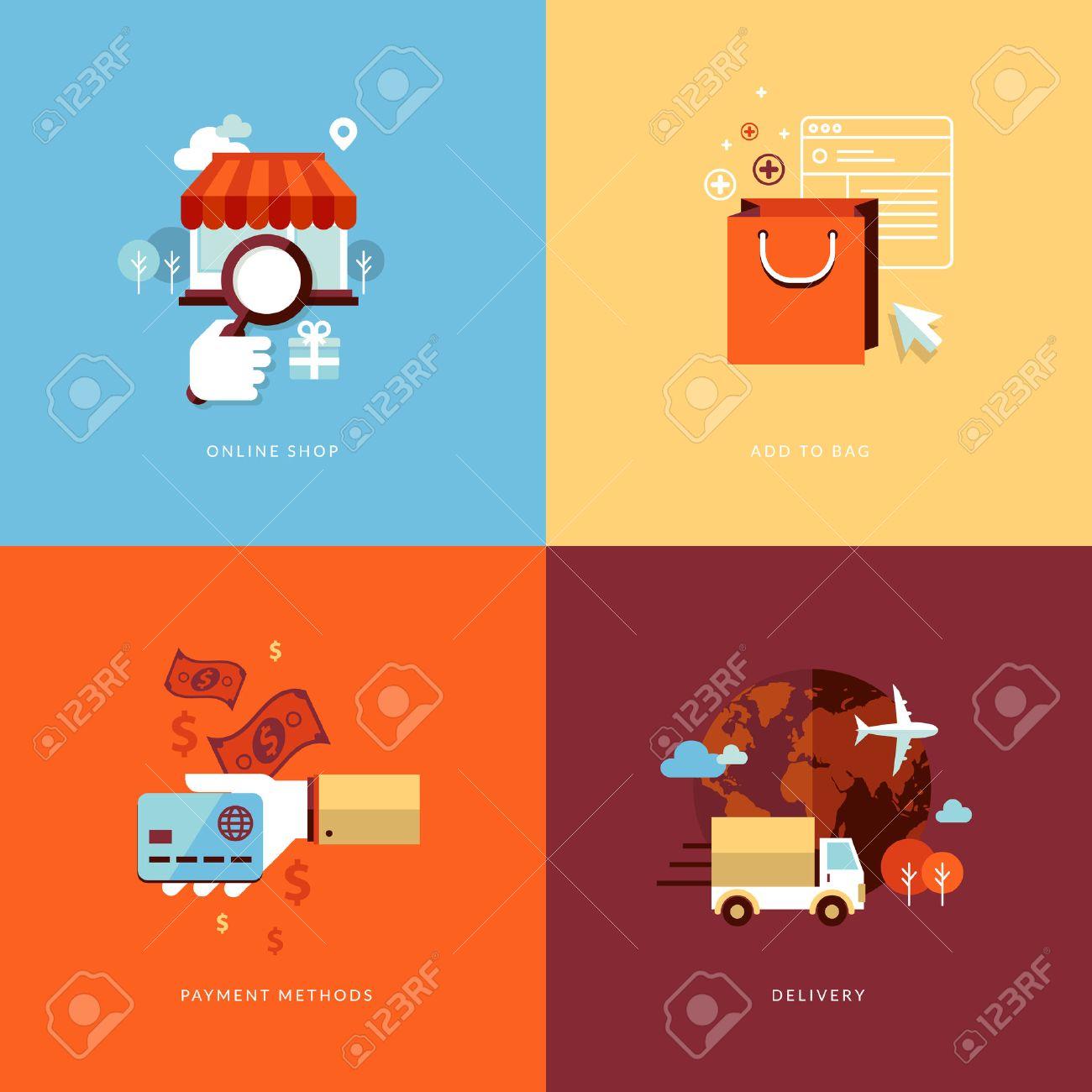 Set Flache Design-Konzept Symbole Für Online-Shopping-Icons Für ...