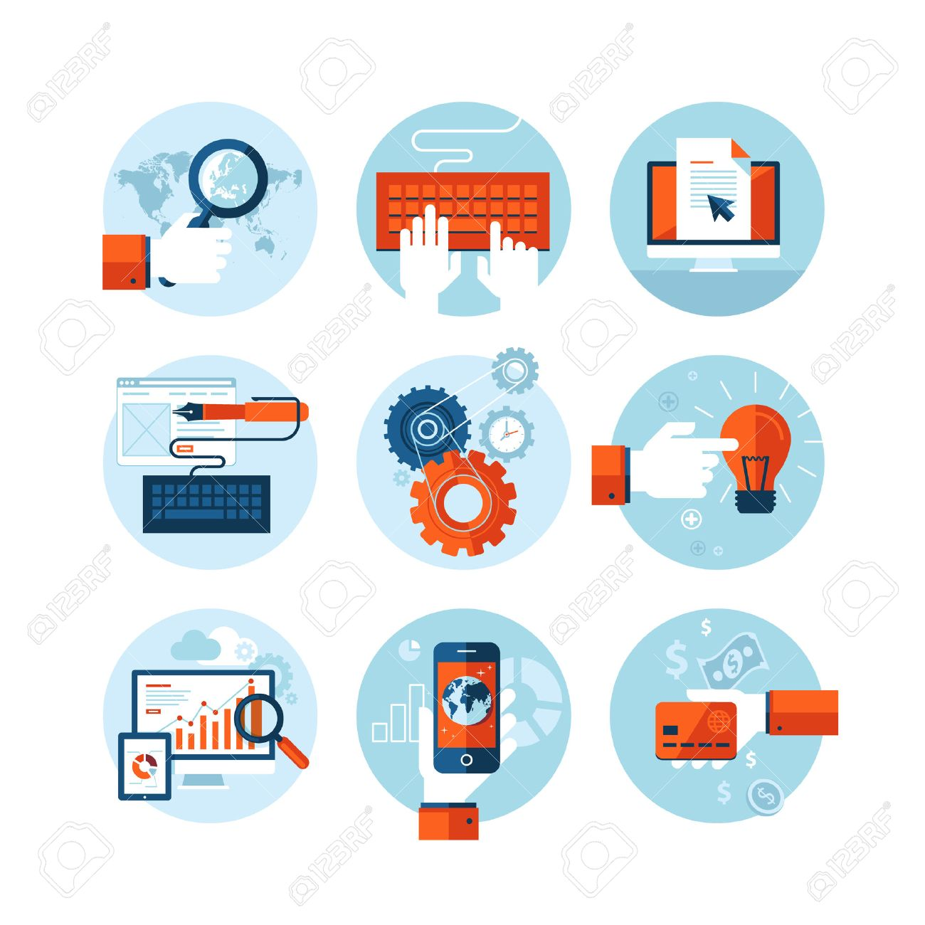 Set of modern flat design icons on the topic of web design development - 25311802