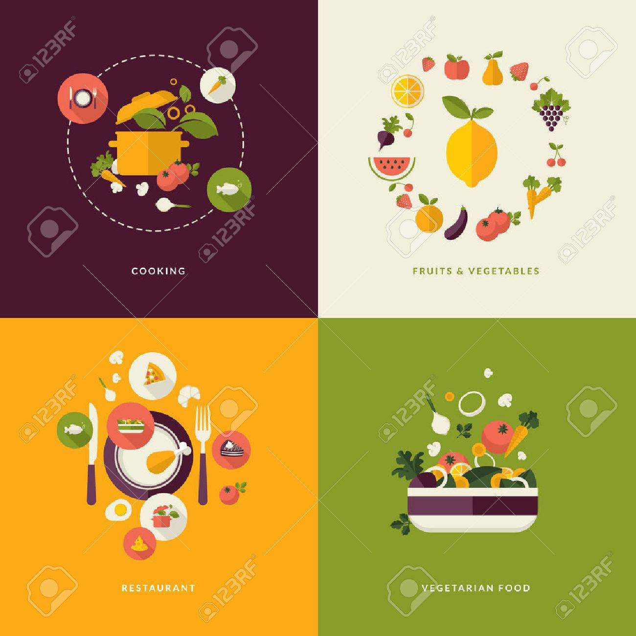 Set of flat design concept icons for food and restaurant Icons for cooking, fruits and vegetables, restaurant and vegetarian food - 26593114