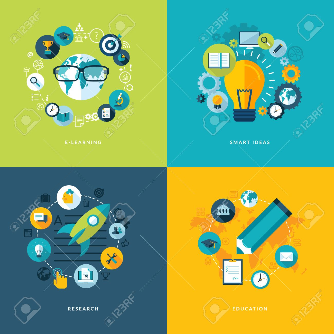 Set of flat design concept icons for education  Icons for online learning, smart ideas, research and education Stock Vector - 27119444