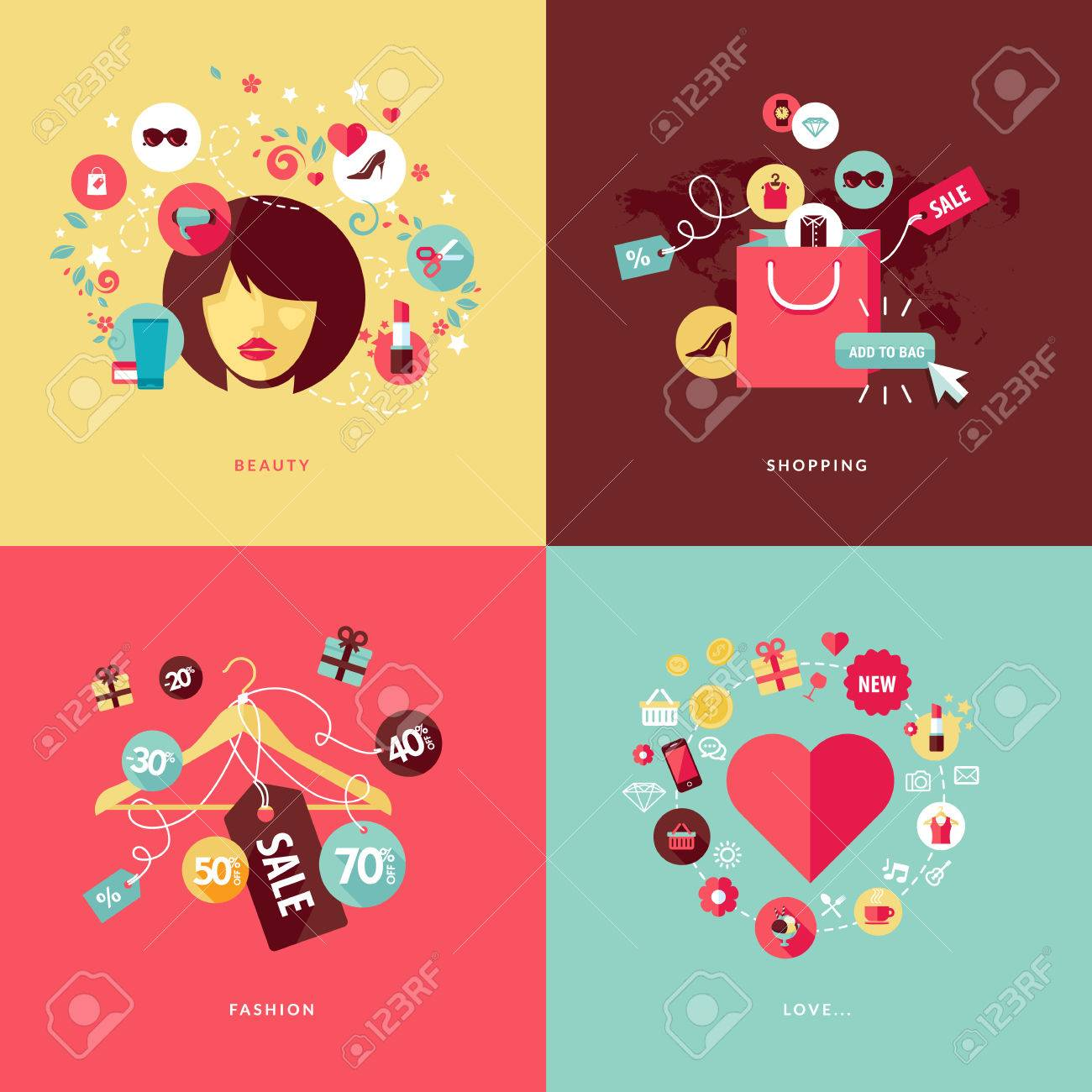 Set of flat design concept icons for beauty and shopping  Icons for beauty, shopping, fashion and love concept Stock Vector - 27535637
