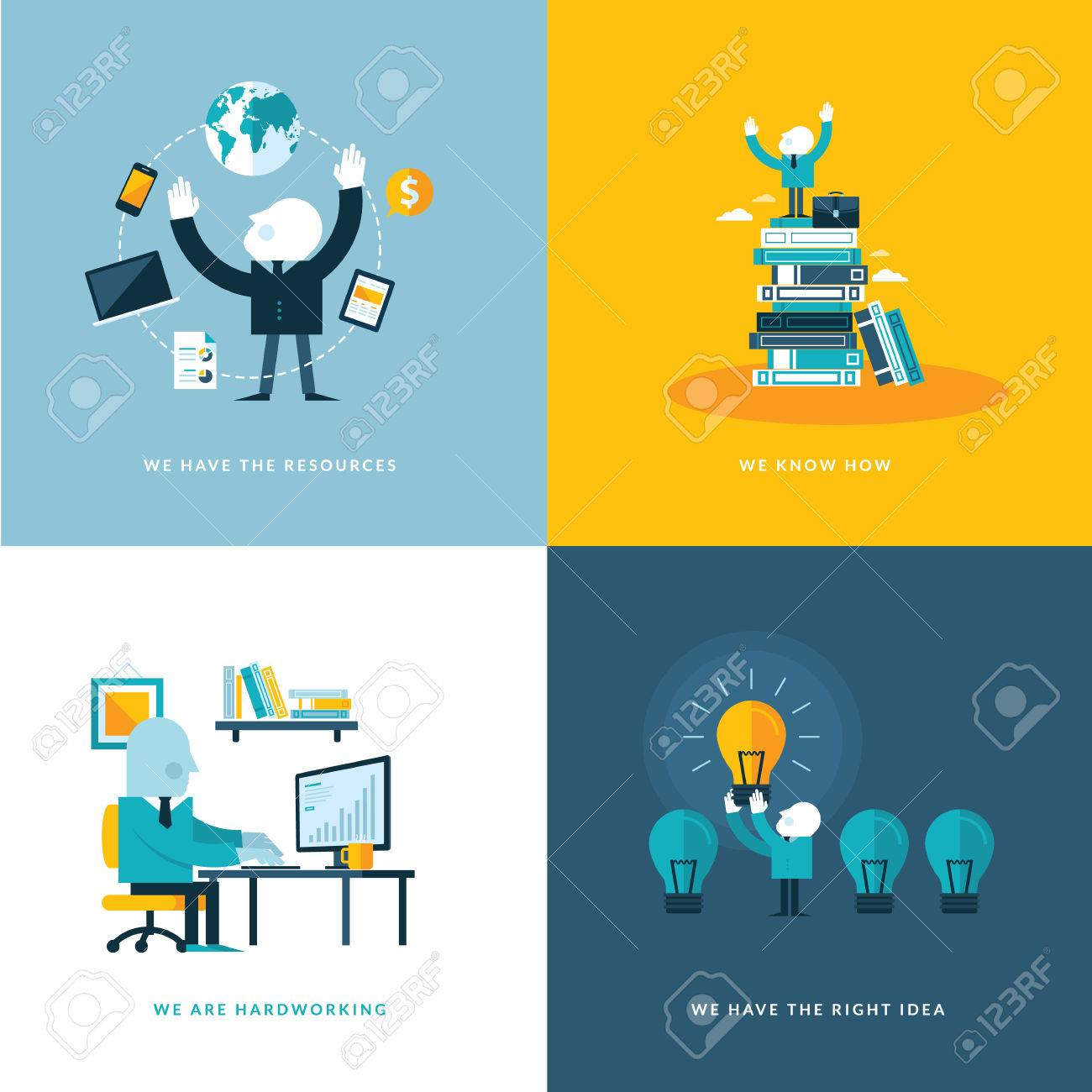 Set of flat design concept icons for business Icons for company resources, know how, hardworking, and creativity - 27535921