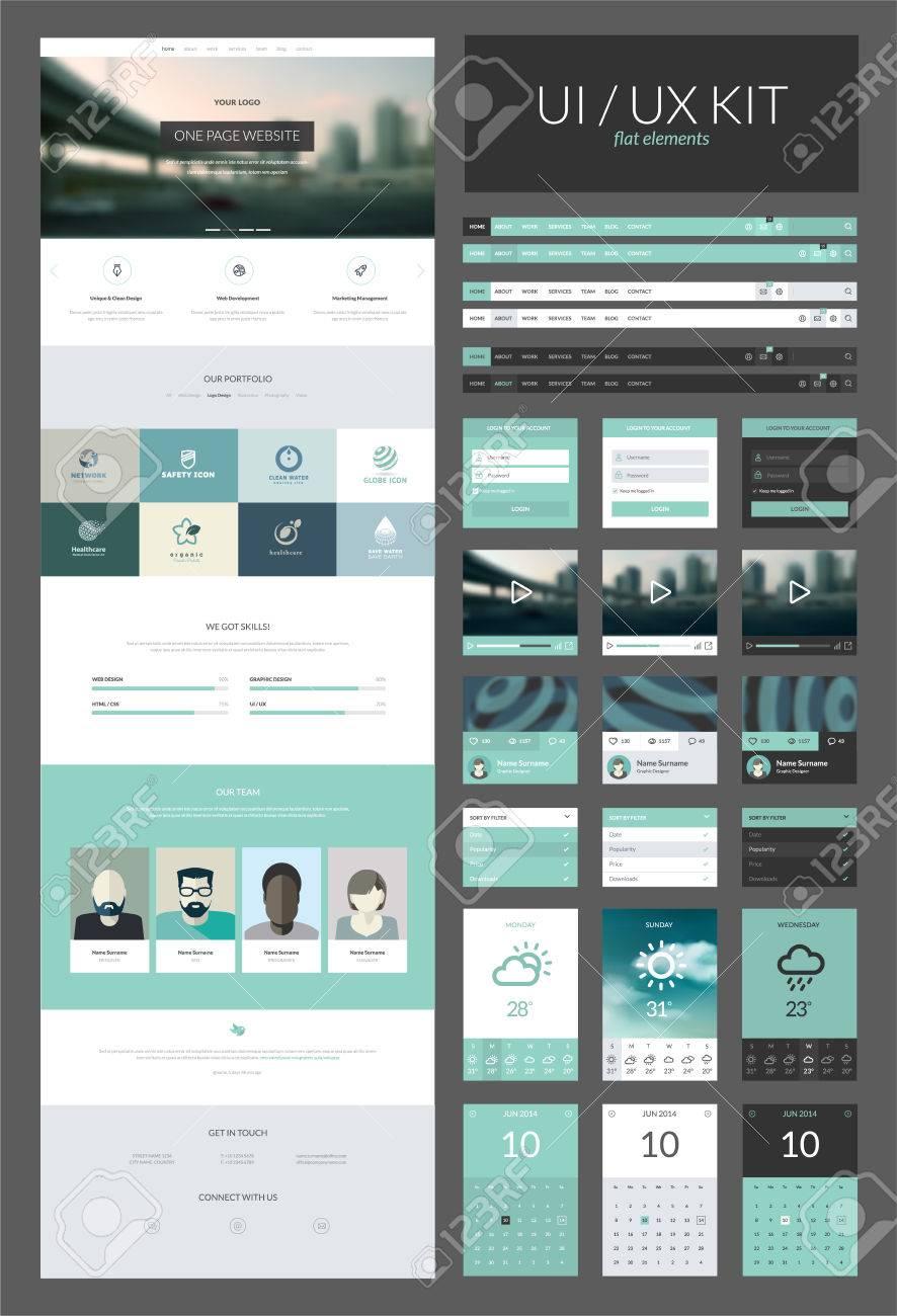 Un Modele De Page De Conception De Sites Web Tout En Un Ensemble Pour La Conception De Site Web Qui Comprend Une Page Modeles De Site Web Et Kit Ux Ui Pour