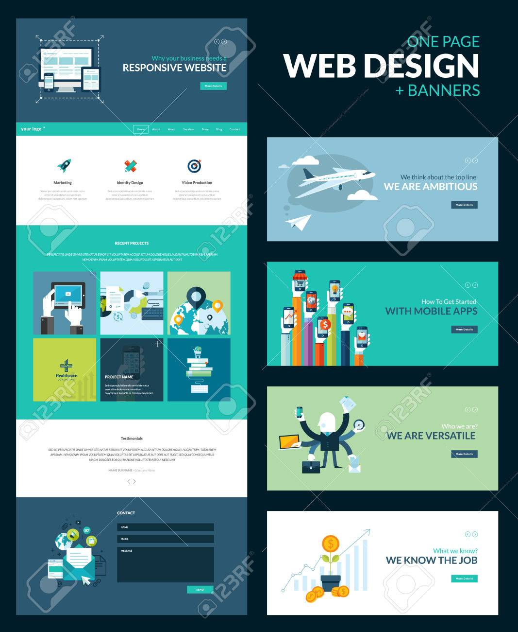 Un Modele De Page De Conception De Sites Web Tout En Un Ensemble Pour La Conception De Site Web Qui Comprend Un Modele De Page De Site Web Pour Le Site Reactif