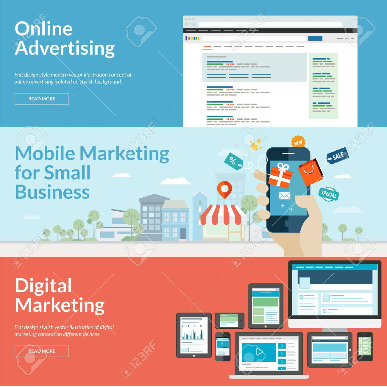Set of flat design concepts for marketing Concepts for online advertising, mobile marketing and digital marketing - 30674627