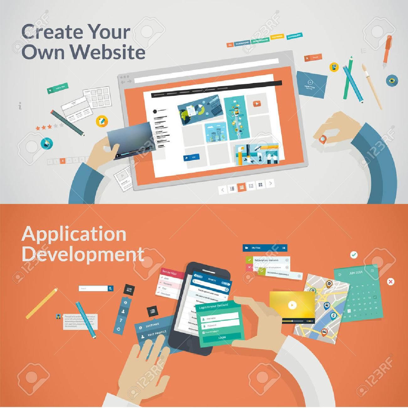 Set of flat design concepts for web development Concepts for web design, programming and SEO - 30826127