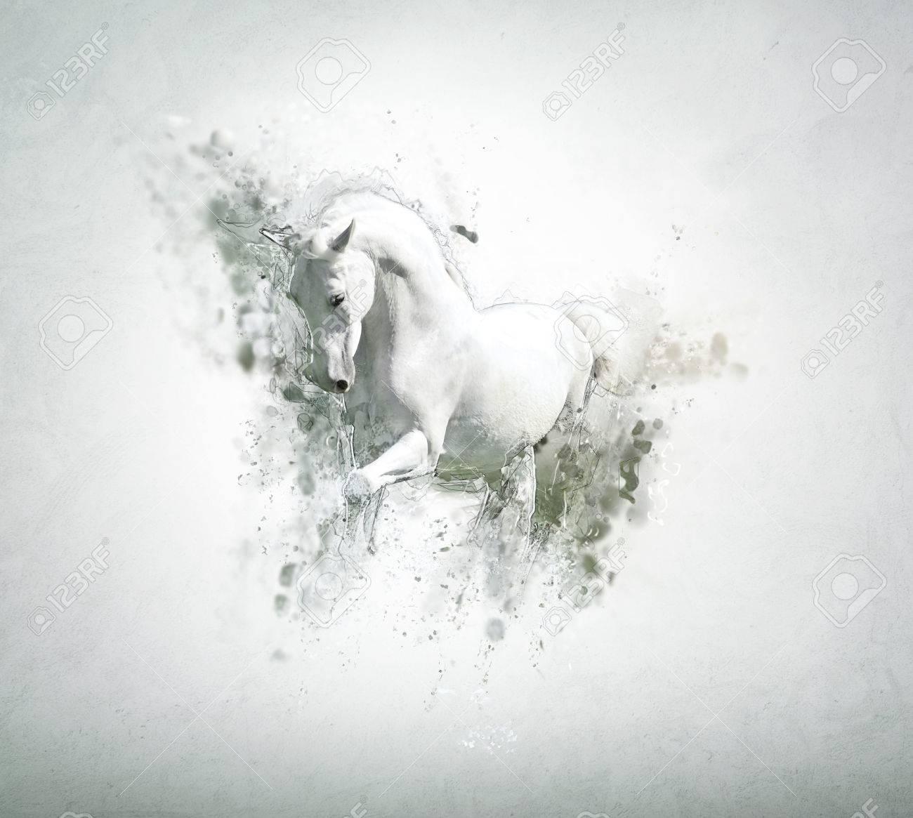 Graceful Cavallo Bianco, Concetto Astratto Animali. Può Essere ...