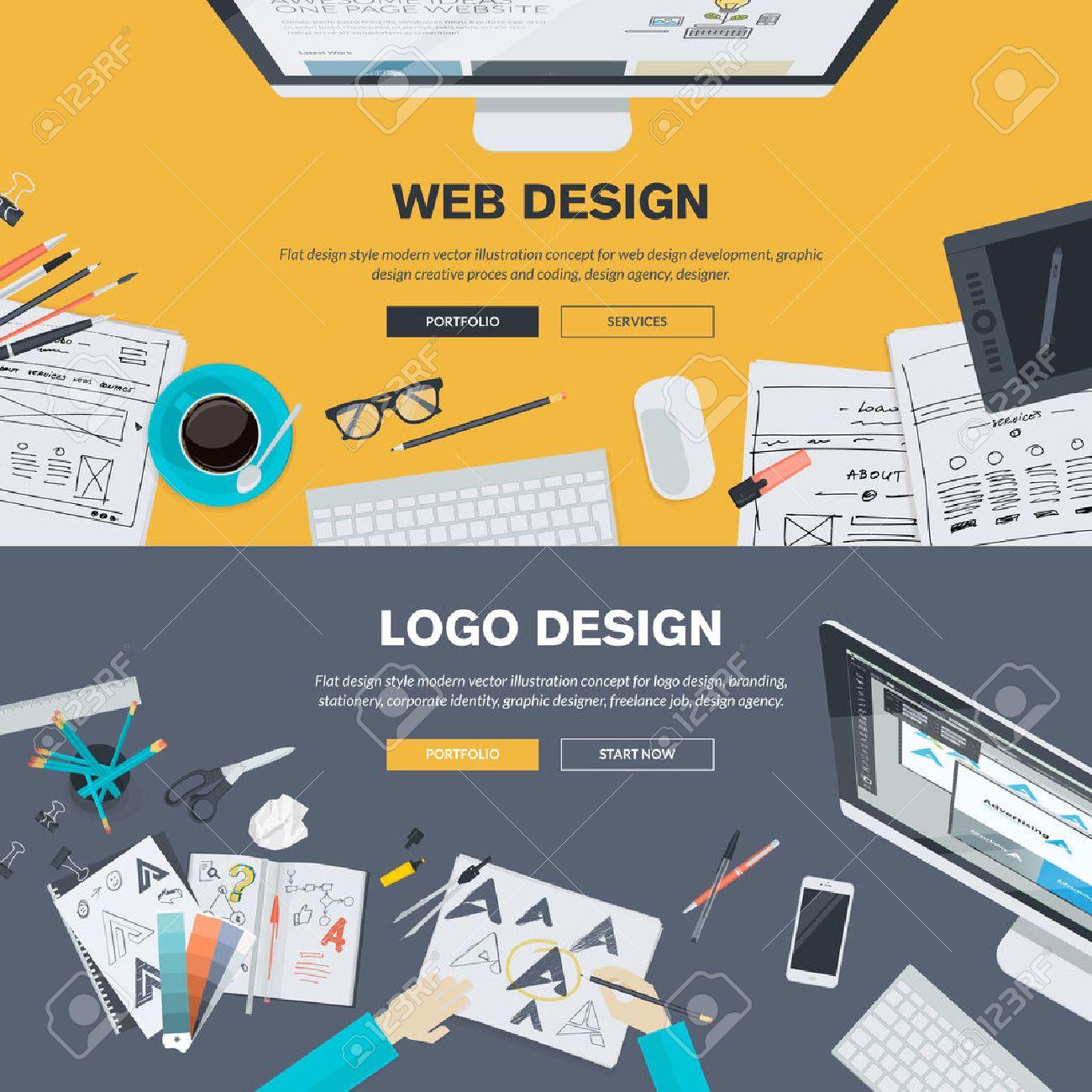 Flat design illustration concepts for web design development, design,  graphic design, design agency