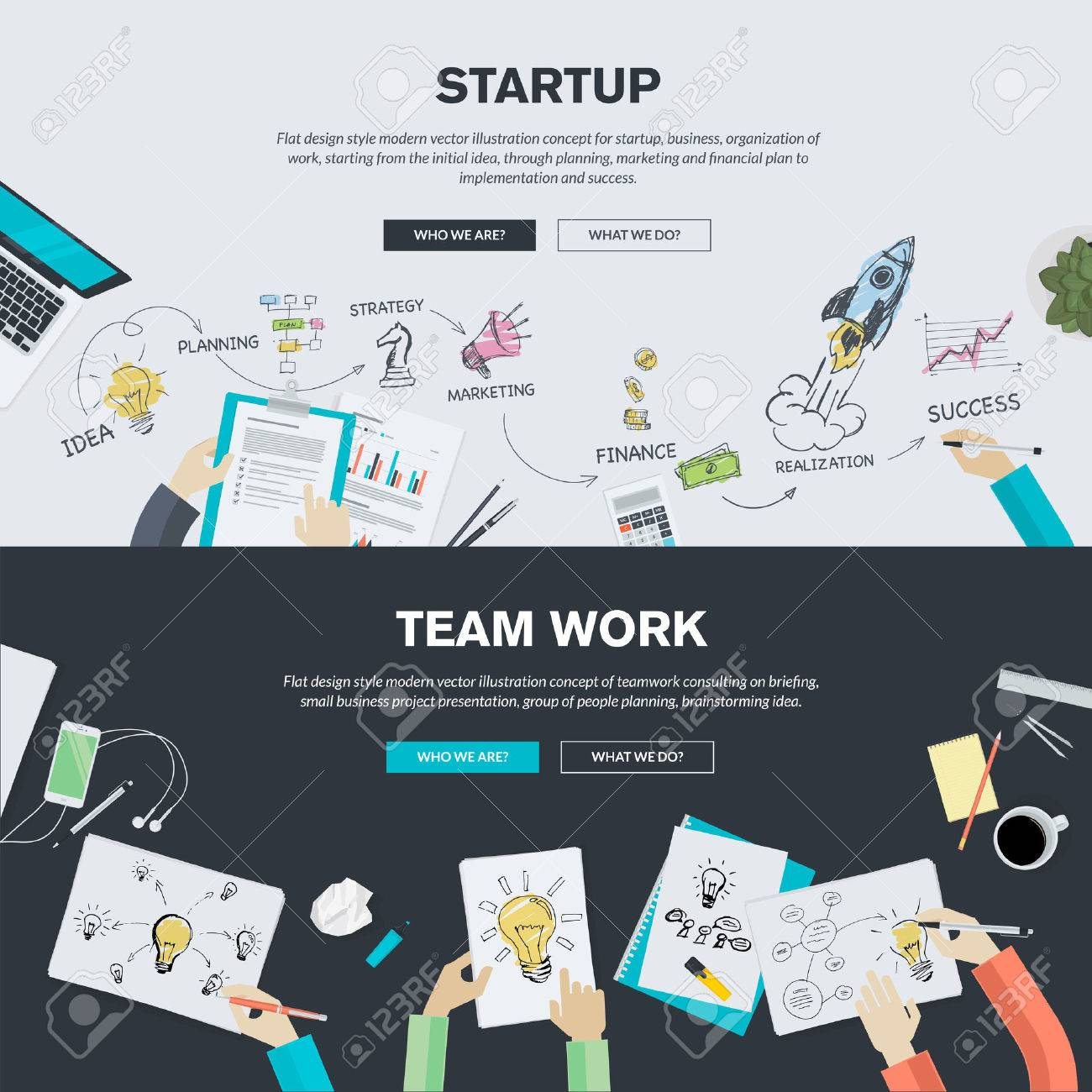 Poster design concepts - Flat Design Illustration Concepts For Business Finance Consulting Management Team Work