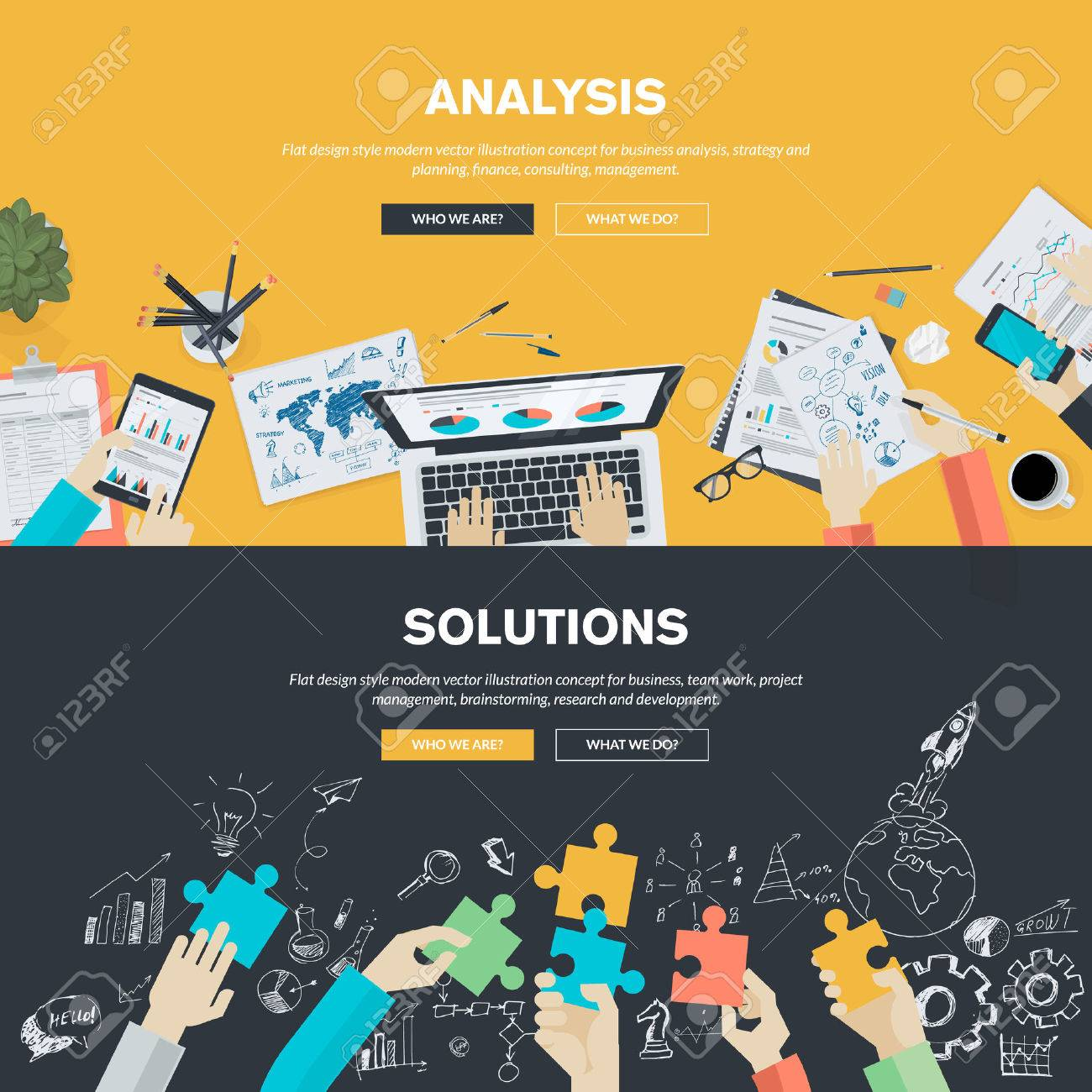 Flat design illustration concepts for business analysis, strategy and planning, finance, consulting, management, team work, project management, brainstorming, research and development. Concepts web banner and printed materials. - 37046599