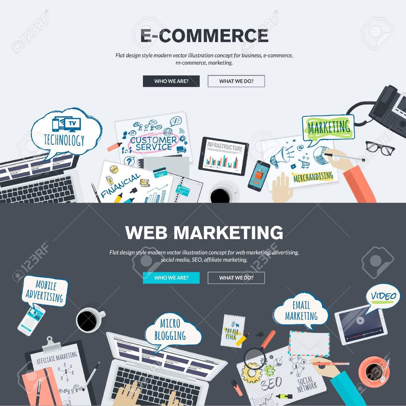 Banner design for e commerce - Set Of Flat Design Illustration Concepts For E Commerce And Web Marketing Concepts For