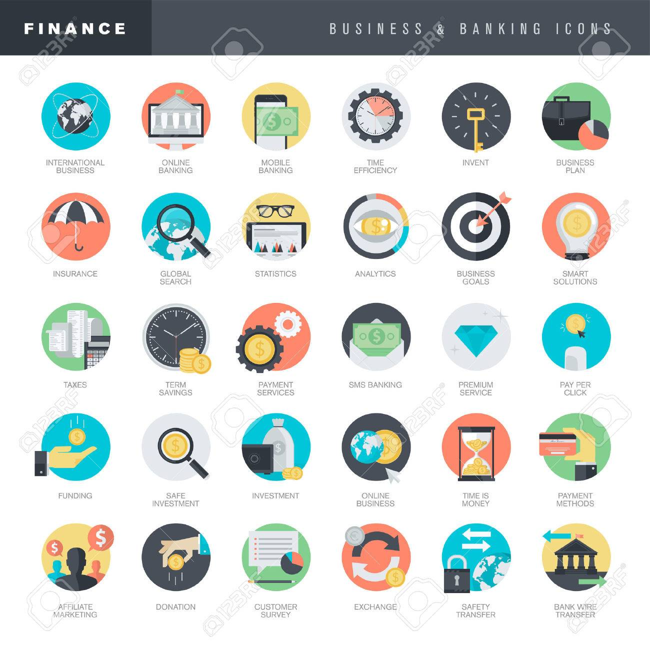 Set of flat design icons for business and banking - 38236302