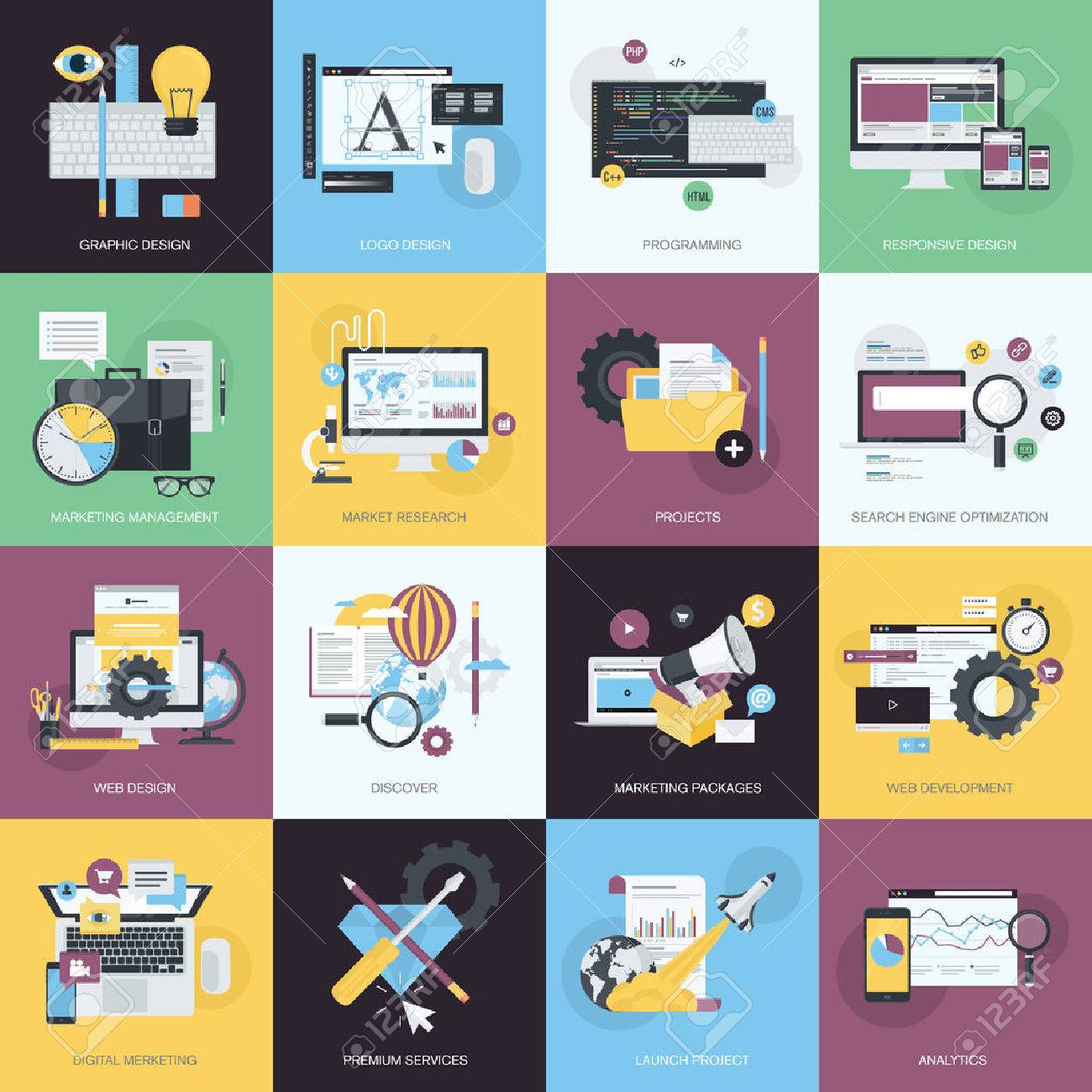 flat design style concept icons on the topic of graphic design flat design style concept icons on the topic of graphic design icon design website