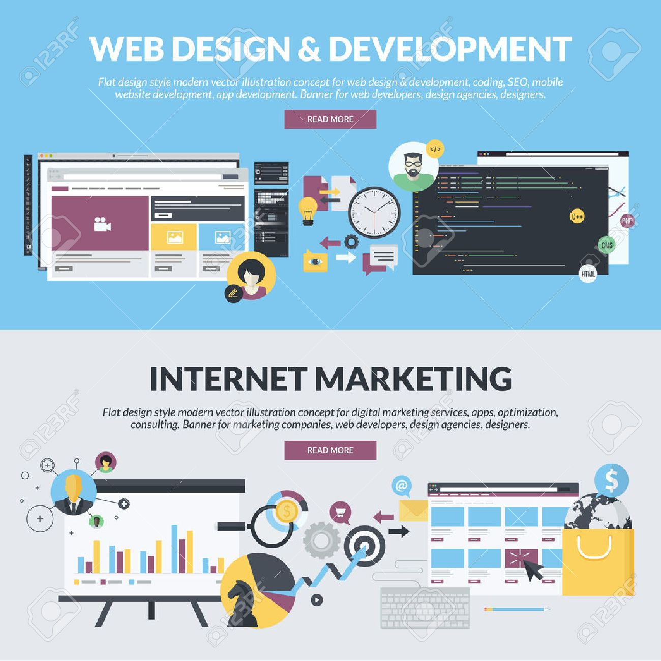 Set of flat design style concepts for web design and development,