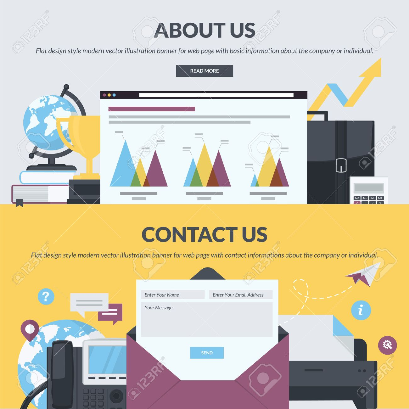 Set of flat design style banners for web pages with basic and contact information about the company or individual. - 39209296