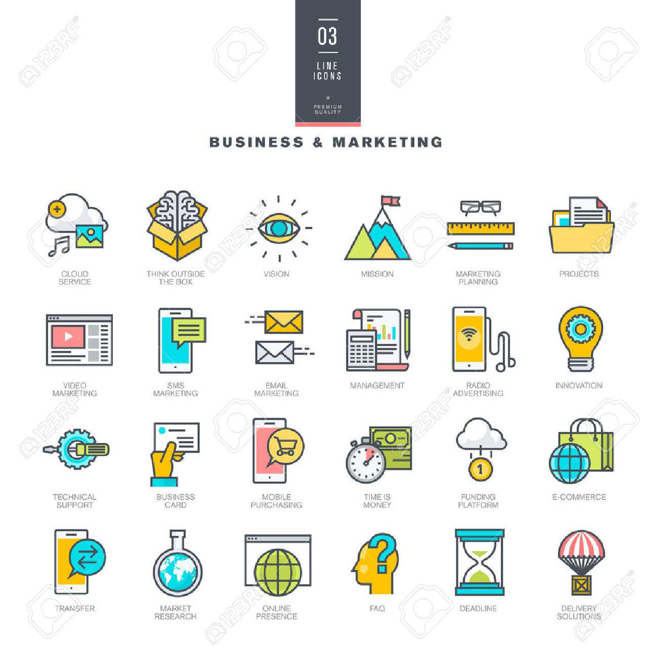 Set of line modern color icons for business and marketing - 40826904