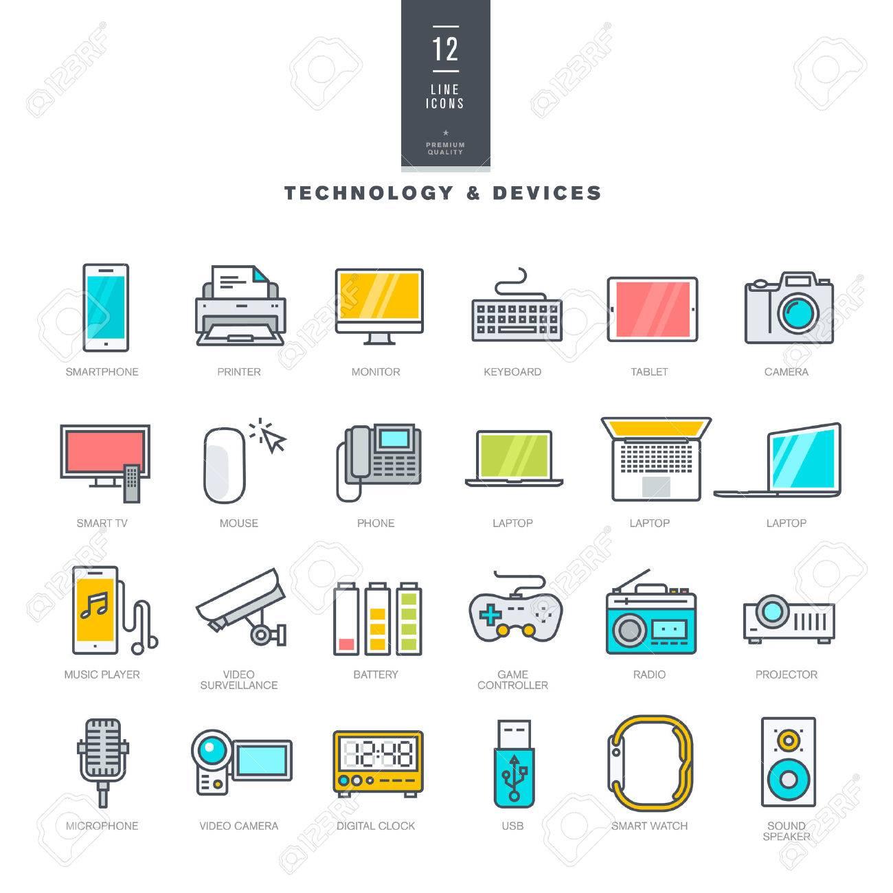 Set Modern Farbenikonen Für Technologie Und Elektronische Geräte ...