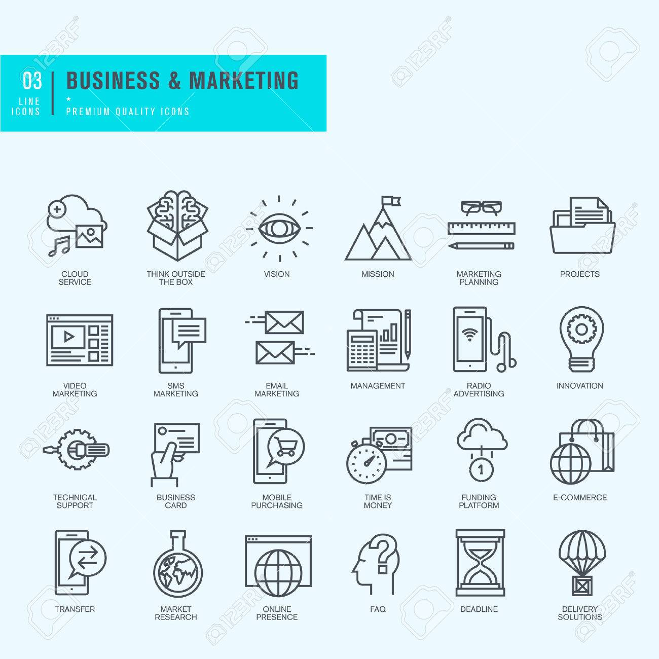 Thin Line Icons Set Icons For Business Marketing Ecommerce Royalty