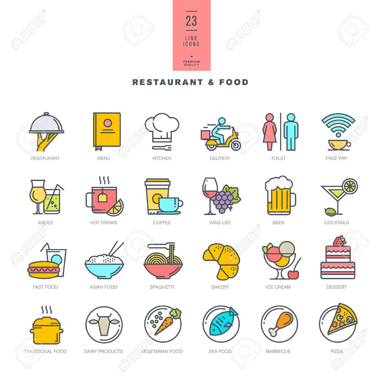 Set of line modern color icons for restaurant and food Stock Vector - 41304681