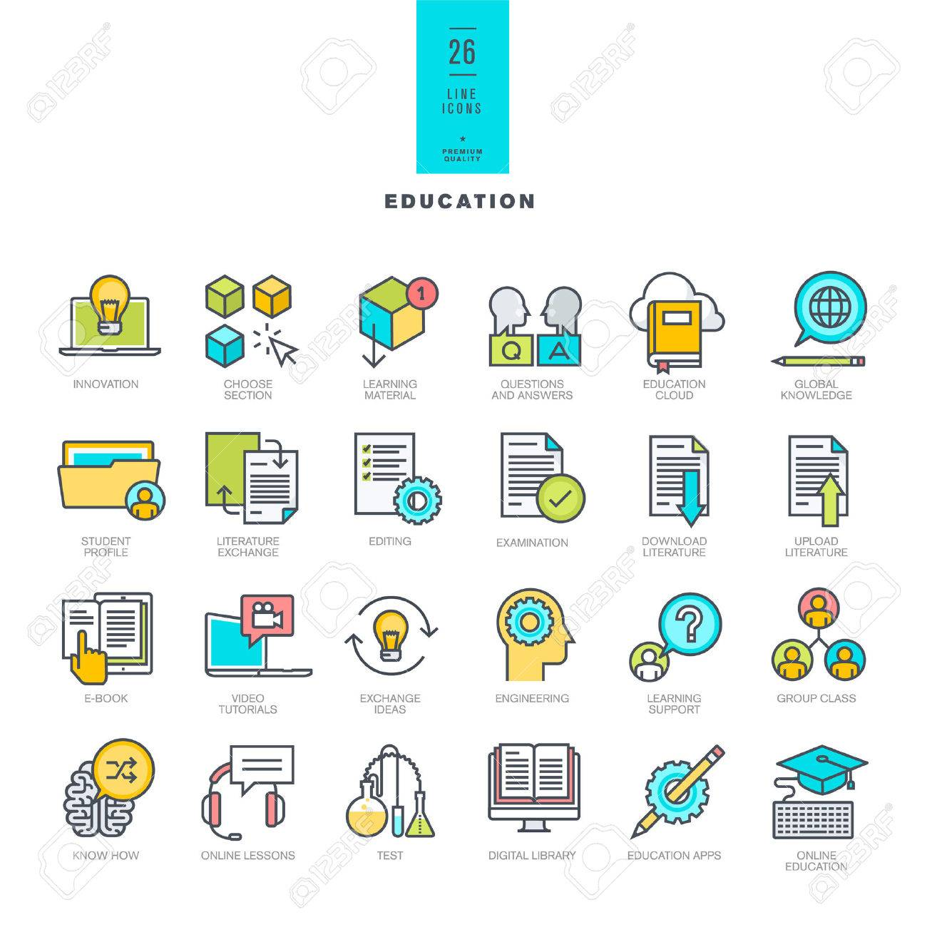 Set of line modern color icons on the theme of education Stock Vector - 41304762